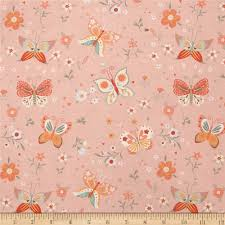 bunny tales butterfly pink from fabricdotcom designed by lucie