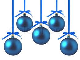christmas balls blue christmas balls with bows on white background stock photo