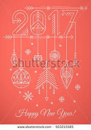 New Year Greetings Decoration by New Year Greeting Card Template Hanging Stock Vector 501278692