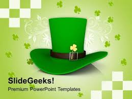 st patricks day hat with clover holidays powerpoint templates ppt