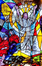 stained glass showing jesus resurrection stock photo picture and