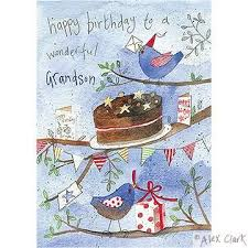 wonderful grandson birds and cake birthday card karenza paperie
