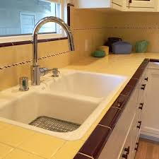 Retro Kitchen Wall Tiles Carolyn U0027s Gorgeous 1940s Kitchen Remodel Featuring Yellow Tile