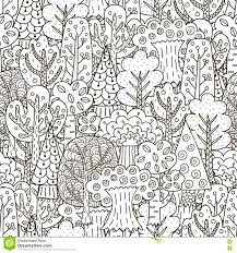 fantasy forest seamless pattern black and white trees background