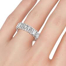 diamond wedding bands for women classic emerald cut lab created diamond wedding band for women