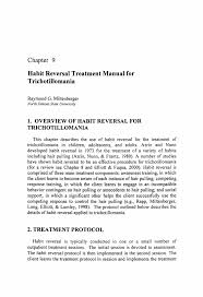 habit reversal treatment manual for trichotillomania springer