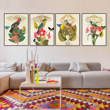 Livingroom Paintings by Aliexpress Com Buy Retro Flowers U0026 Birds Parrot Paintings Hd