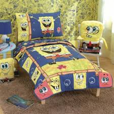 simple kids bedroom design with spongebob squarepants wallpaper