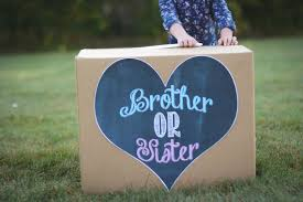 gender reveal balloons in a box or gender sibling reveal balloon box sign