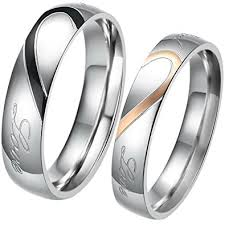 stainless steel wedding sets jewelrywe free engraving matching mens womens heart shape