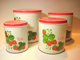 vintage 1960s strawberry canister set tin litho nesting canister