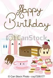 vectors illustration of birthday card cute happy birthday card