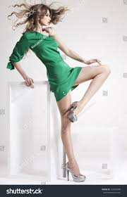 beautiful woman long legs dressed stock photo 126706949