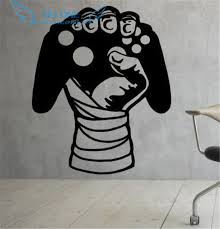 home decor free shipping gamer sticker wall decal vinyl video games joystick fun kids home