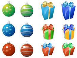 christmas ornament and gift icons christmas vector graphics art