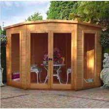 Summer House In Garden - wooden garden corner summer house modern shed log cabin 7x7
