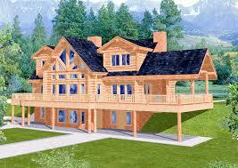 plan 35121gh spacious log home plan big family logs and balconies