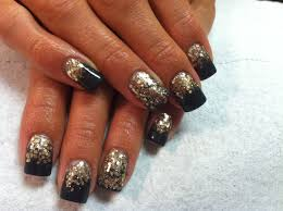 acrylic nails gold black glitter my acrylic nails pinterest