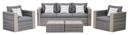 cebu 5 piece wicker patio conversation set grey with grey cushions