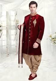 wedding for men contrasting lace border velvet stole in maroon mhg414