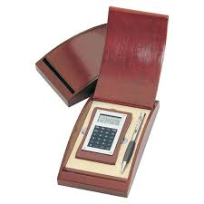 engraved wooden gifts wooden calculator and silver pen gift set
