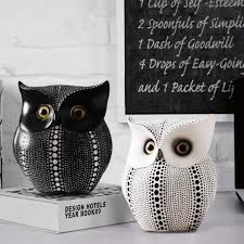 popular minimalist black and white owl home decorations resin