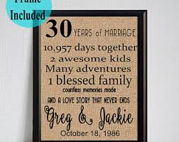 30th wedding anniversary gift 30th anniversary etsy