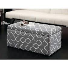blue and white ottoman pattern ottoman rectangular storage grey white blue gilesand