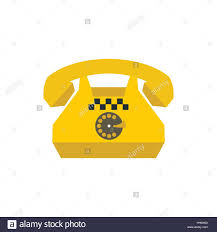 yellow retro taxi phone icon flat style stock vector art