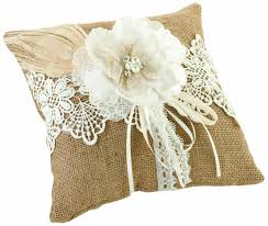 wedding ring pillow lillian rustic burlap country lace wedding ring