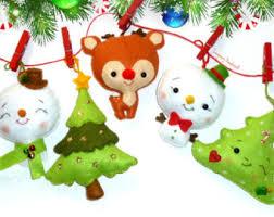 set of 3 wool felt reindeer ornaments