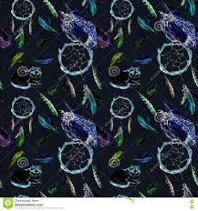 halloween background black cat feathers owl cat dreamcatcher black background repeating