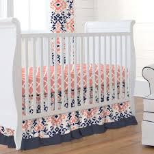 Navy And Coral Crib Bedding Navy And Coral Ikat 3 Crib Bedding Set Carousel Designs