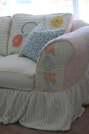 Wingback Sofa Slipcovers by Decorating Shabby Chic Slipcovers Drop Cloth Slipcover How To