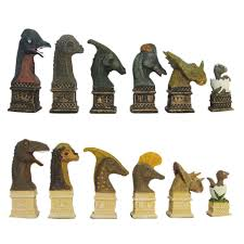 dinosaur theme hand painted polystone chess pieces