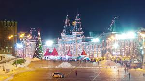 moscow winter illumination square rink 4k time lapse