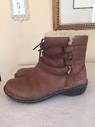 s ugg australia nubuck boots ugg australia brown leather nubuck shearling ankle boots size 8