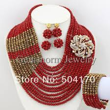 african wedding bead necklace images Marvelous full nigerian wedding african beads jewelry set bridal jpg