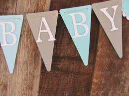 Baby Blue And Brown Baby Shower Decorations Light Blue Grey And White Baby Shower Banner Welcome Baby