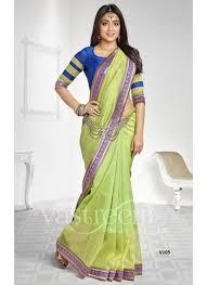 new pista green net silk saree