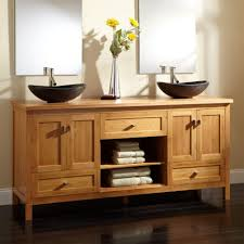 Stainless Steel Sink With Bronze Faucet Varnished Wood Bathroom Vanity Have Double Bowls Stainless Steel