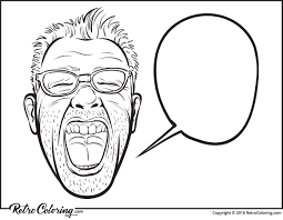 horror movie hipster face coloring page retrocoloring