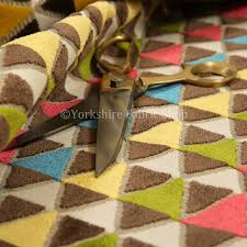 Colourful Upholstery Fabric Soft Woven Jacquard Velvet Fabric Bright Coloured Le Triangle