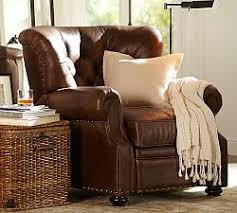 leather recliners pottery barn