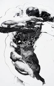 dynamic white figure painting 47 x 25 large original canvas