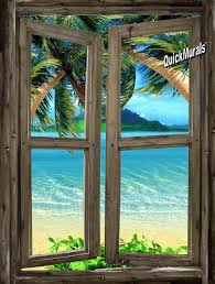 beach cabin window 7 wall mural window self adhesive wall mural