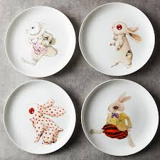 2018 8 inch ceramic dishes plates rabbits printed in