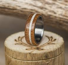 Wooden Wedding Rings by Authentic Whiskey Barrel Wood Wedding Band W Elk Antler Inlay