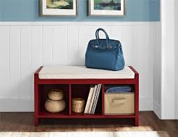 entry way storage bench ameriwood home penelope entryway storage bench with cushion red