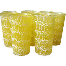 vintage yellow color set of 8 vintage spaghetti string glass tumblers rubberized color